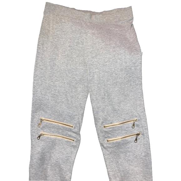 Women's Light Gray Zip detail Leggings